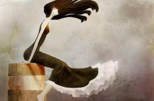 Kvinde sidder på en kant foran en stormfuld himmel