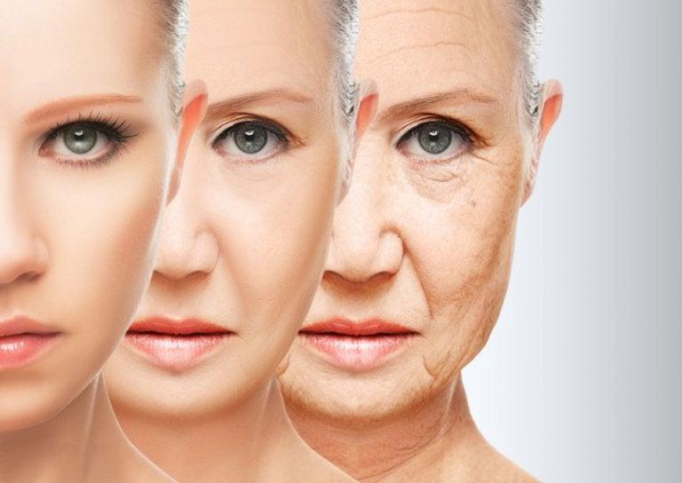 Aldring vises på en kvindes ansigt