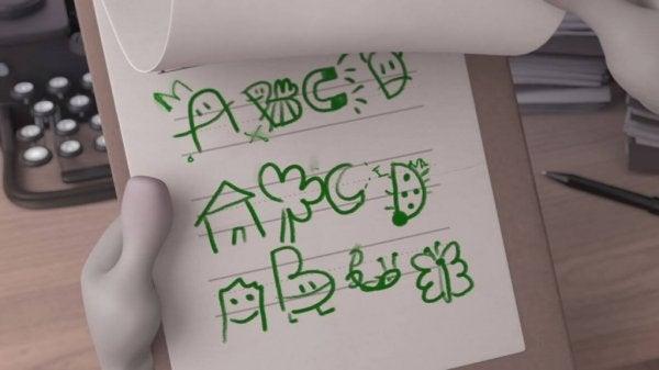 Alfabet tegnet med sjove tegninger