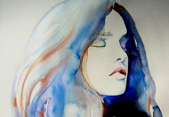 Kvindes ansigt i blå farver