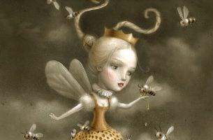 Pige holder bi i hånd
