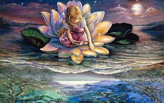 Pige sidder på blomst i flod