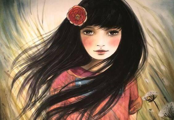 Pige med mørkt hår og blomst i håret udøver forsigtighed