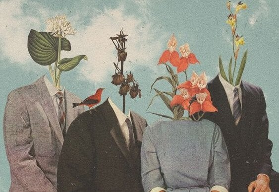 Personer med blomster i stedet for ansigter