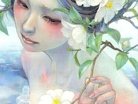 Trist pige med blomst gemmer på de dybeste sår