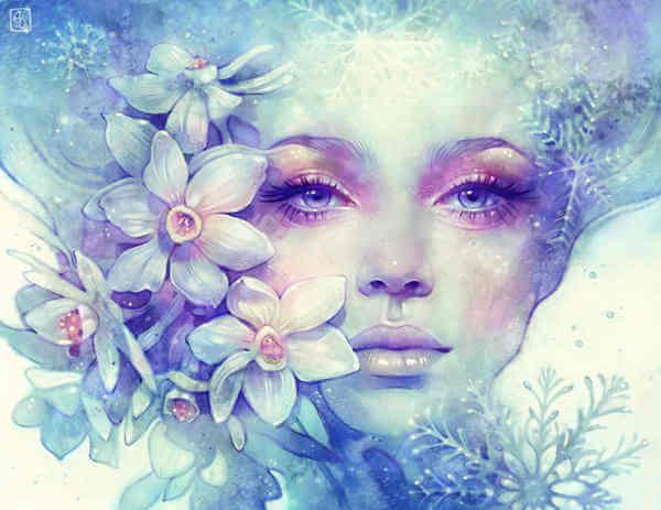 Kvinde med blomster for ansigtet