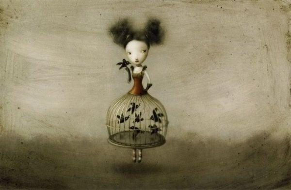 Pige med kjole som bur med fugle i