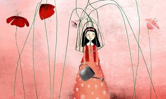 Kvinde i bur lavet af blomster