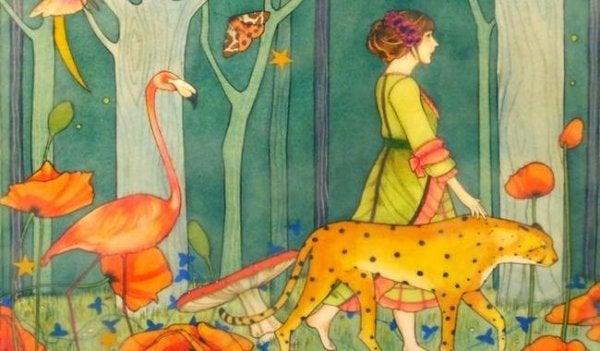 Kvinde går i skov med vilde dyr