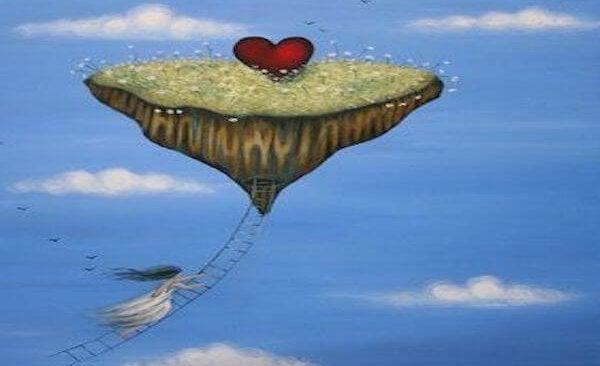 Pige hænger på stige under flyvende ø med hjerte