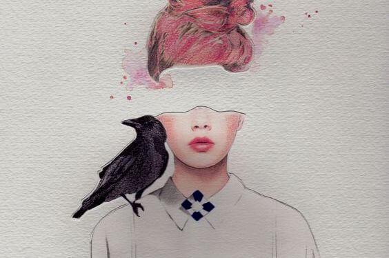 Tegning af kvinde med krage på skulder og hul for øjnene