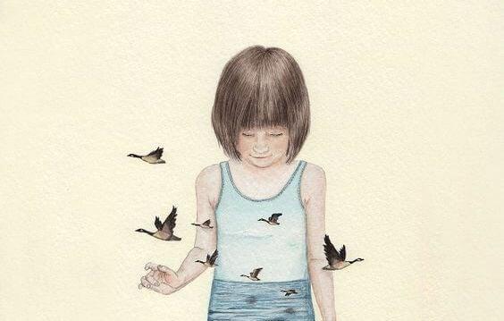 Barn med fugle rundt omkring sig