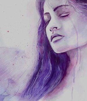 Kvinder græder på grund af depression som resultat af lavt serotonin-niveau