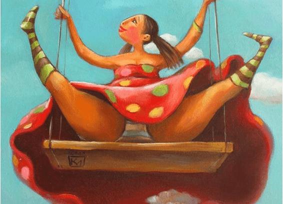 Livlig kvinde sidder på gynge med spredte ben