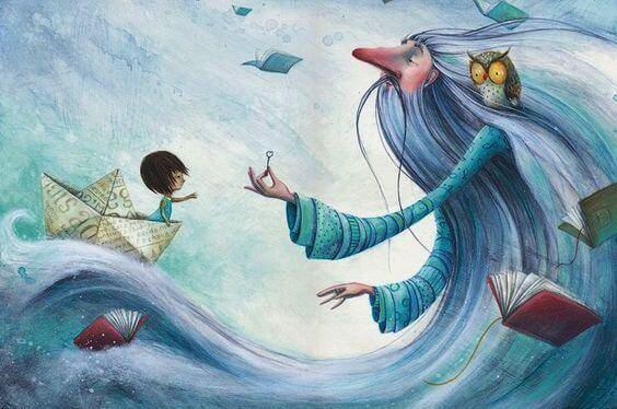 Havmand anvender kærligt sprog for at kommunikere med barn i båd