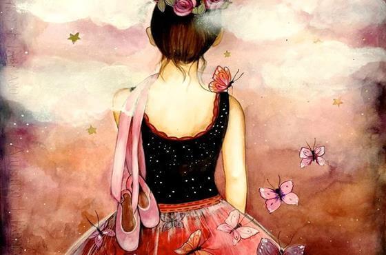 Pige med balletsko går mod lyserød himmel