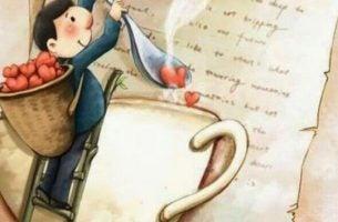 Mand tager hjerter ud af en kop kaffe