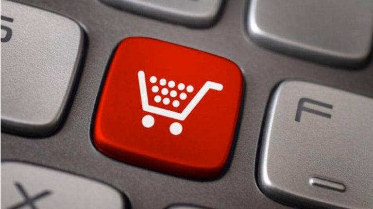 Knap med indkøbsvogn symboliserer forbrugerisme