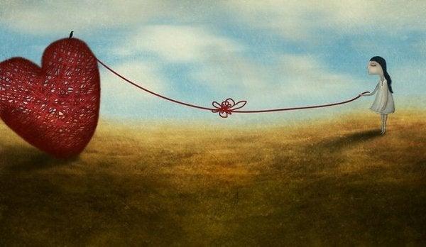 Pige prøver at binde knude op, der forhindrer hende i at nå hjertet