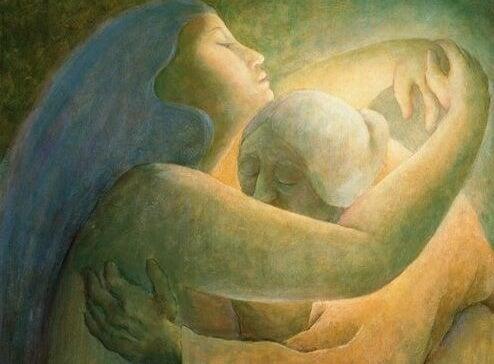 Kvinder krammer og udviser venlighed