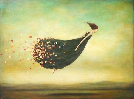 Giv slip på fortiden, som denne kvinde, hvor blomster flyver væk fra hendes kjole