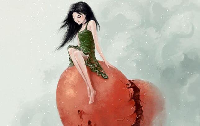 Trist kvinde sidder på hjerte i skyer