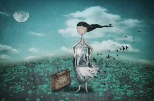 Kvinde står med maleri og kuffert
