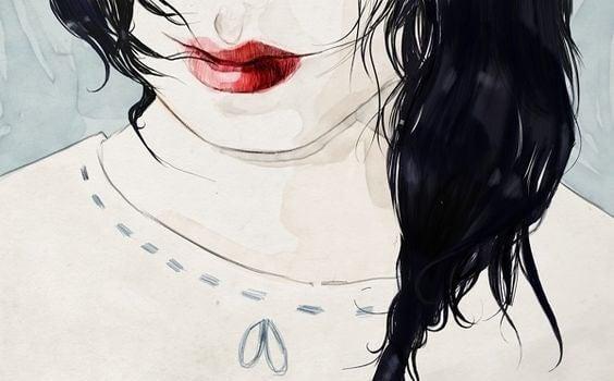 Nærbillede af kvinde med røde læber