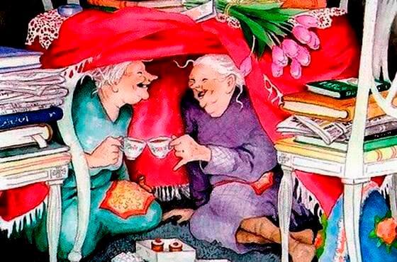 Ældre kvinder med unge sind drikker te sammen i hule