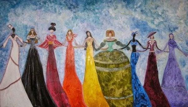 Kvinder i lange kjoler i regnbuens farver