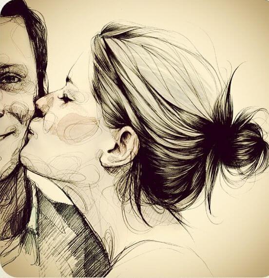 Kvinde kysser mand på kinden