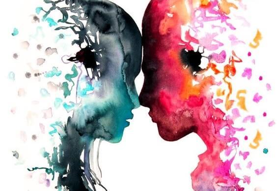 Silhuet af par i blå og pink farver