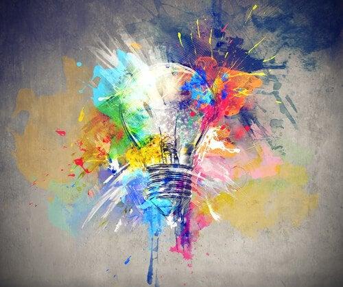 Lyspære og farver viser drømme og ideer