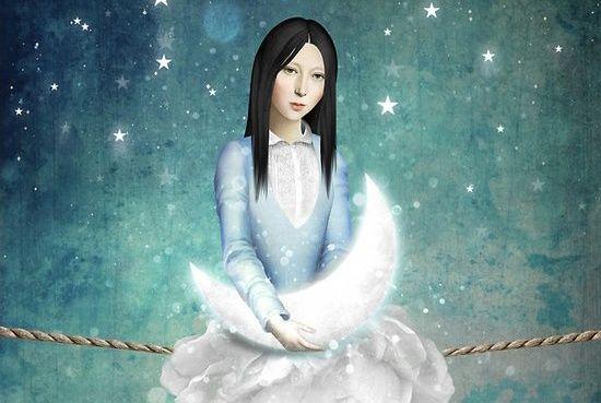Kvinde sidder med måne