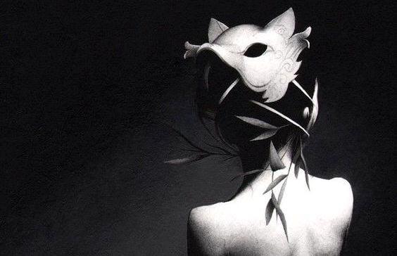Kvinde med maske symboliserer forbitrede mennesker