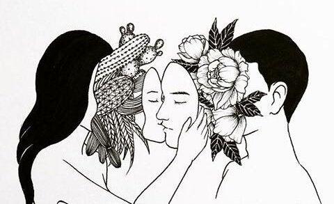 Par med masker på kysser hinanden