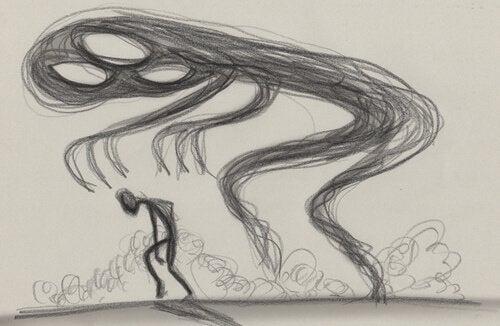 Mand oplever angst i form af monster som resultat af lavt serotonin-niveau
