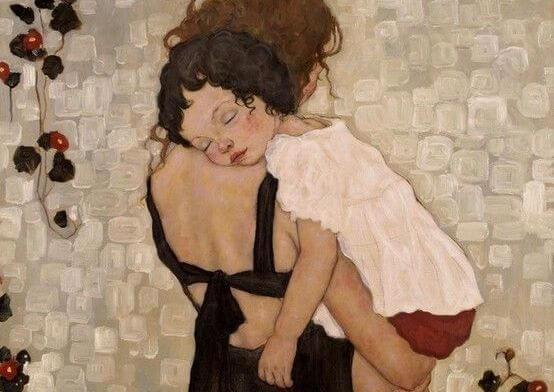 Mor trøster barn med barndomsdepression