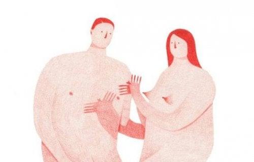 To nøgne personer skændes om afsluttede forhold