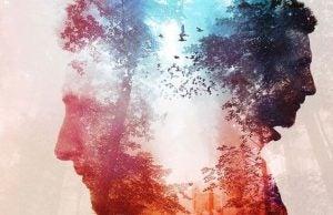Ansigt og natur i røde og blå farver