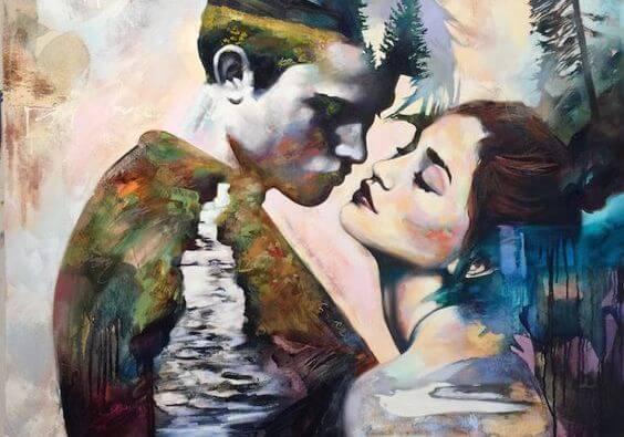 Maleri af par med flod