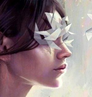 Kvinde med papirfly for øjnene
