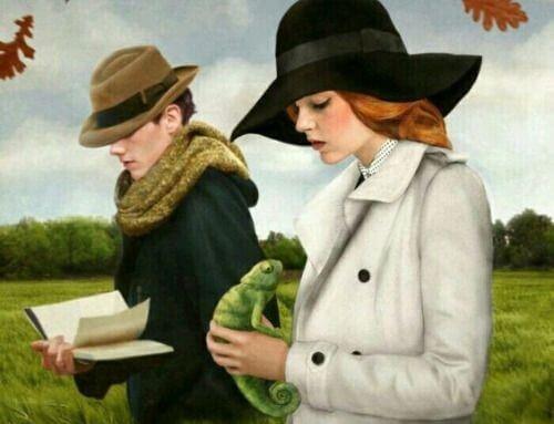 Mand går med bog, kvinde går med firben