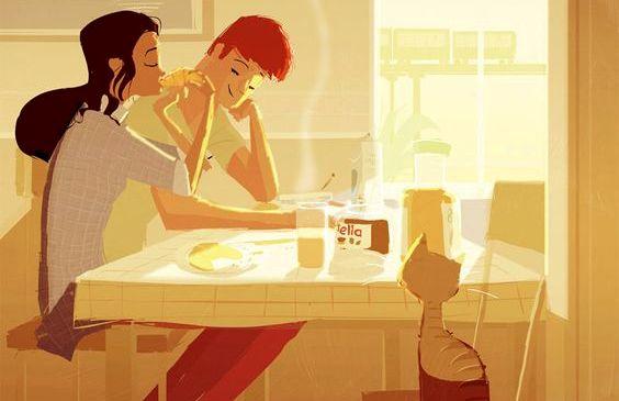 Et par nyder morgenen sammen for at kreere lykke