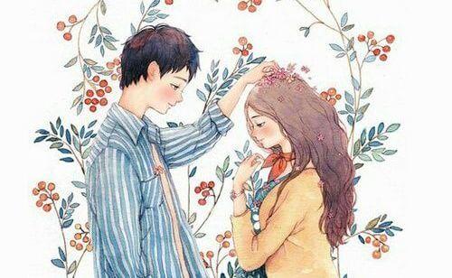 Mand lægger blidt blomst på kvindes hoved