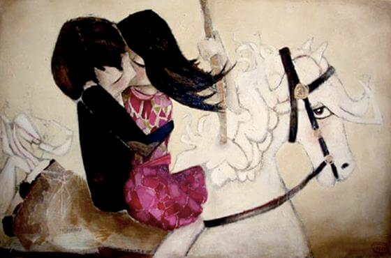 Par kysser på hest