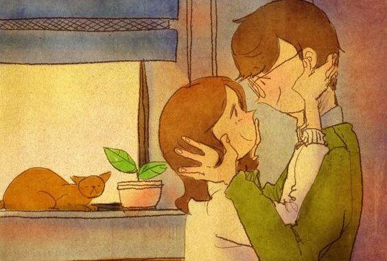 Par krammer og lægger op til elskov