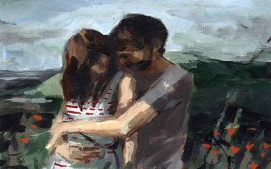 Maleri af krammende par