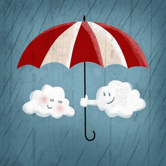 Sky giver anden sky paraply og smiler