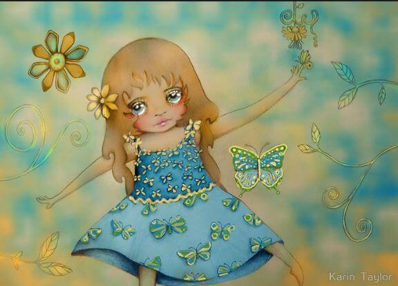 Pige med sommerfugle flyvende omkring sig